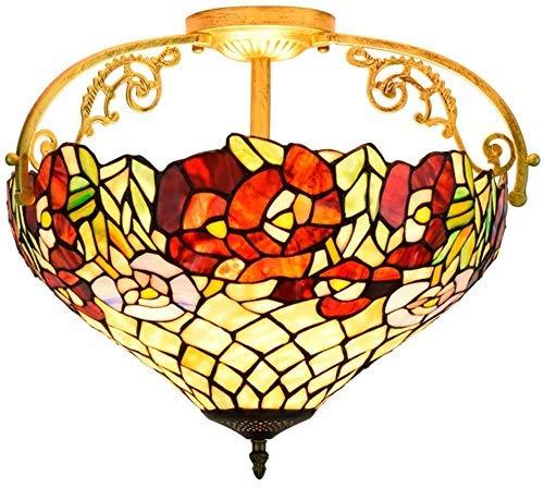 Wtbew-u Lámpara de Techo, luz de baño Sombra de vidrieras Antiguas de 16 Pulgadas de Montaje en la iluminación Colgante de la Sombra de la Sombra para el Dormitorio del Comedor