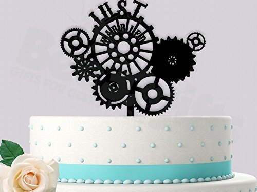 Just Married Steampunk Style Wedding Cake Topper
