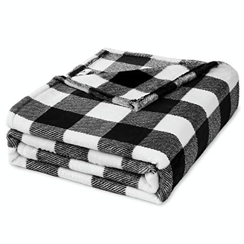 Fomoom Buffalo Plaid Throw Blanket for Couch, Bed and Sofa, Soft and Cozy Fleece Black White Check Pattern Decorative Throw, Fuzzy, Fluffy, Lightweight Microfiber, 51x63 inches
