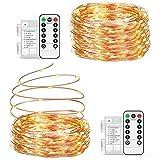 Guirnalda luces pilas【2 * 10M】, OxaOxe 200 LED, Impermeable Cadena de luces con Batería, Mando a distancia con 8 modos, Decoración para Navidad Interior y Exterior, Boda, Fiesta, Balcón