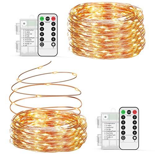Guirnalda luces pilas【2 * 10M】, OxaOxe 200 LED, Impermeable Cadena de luces...