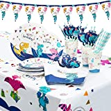 Vajilla de Fiestas, 142 Piezas Dinosaurio Conjunto de Suministros de Fiesta Pancartas Platos Tazas Servilletas para Niños Cumpleaños Niñas