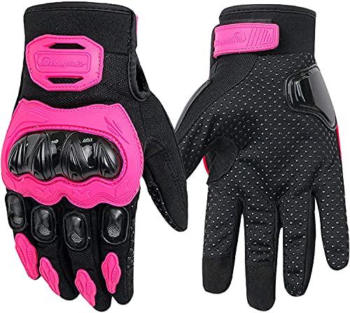 Guantes De Moto Cuatro Estaciones Antideslizantes Antideslizantes para Hombres Y Mujeres Que Pueden Tocar La Pantalla,Pink-M