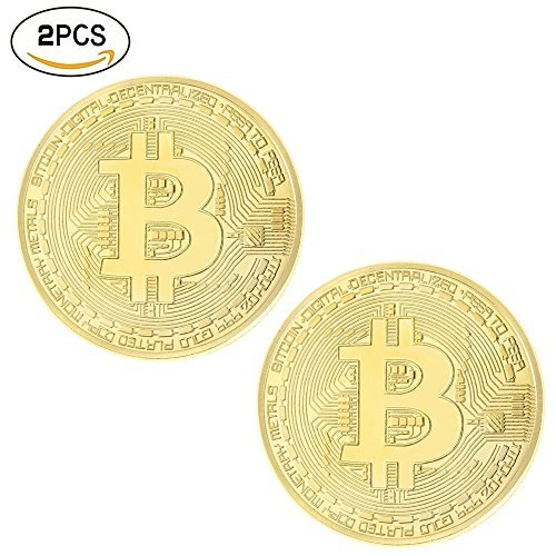 10 Pcs Gold Bitcoin Commemorative Collectors Coin Bit Coin is Gold Plated Coin