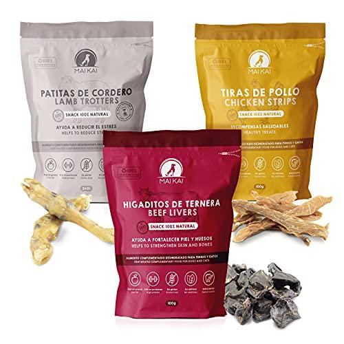 MAIKAI - Premios y chuches Naturales Perros- Recomendado Razas pequeñas - 3 Bolsas de premios Naturales deshidratados - Higaditos de Ternera - Tiras de Pollo - Patitas de Cordero - Treats -Dieta Barf
