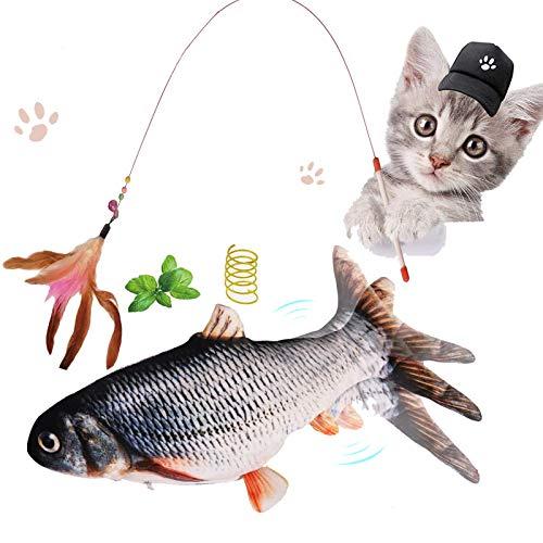 Katzenspielzeug Elektrische Fisch, Zappelnder Fisch für Katzen mit Katzenminze und USB Katzenangel und Spirale Federspielzeug Plüsch Fisch Katzenspielzeug Set