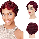 Baruisi Short Curly Nuna Wigs Pixie Wigs for Women Synthetic Finger Wave Hair Wig,Wine Red