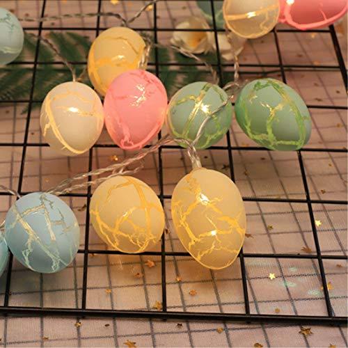 æ— Guirnalda de luces LED de Pascua con forma de huevo grieta, funciona con pilas, para decoración de cuento de hadas de Pascua, día de San Valentín, decoración de fiestas