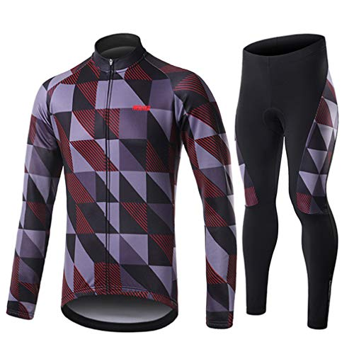emansmoer Homme Fleece Lined Compression Long Sleeve Biking Jerseys Jacket Bicycle Cycling Suit Stretch Breathable Long Pants Sportswear(L,Grey-Red)