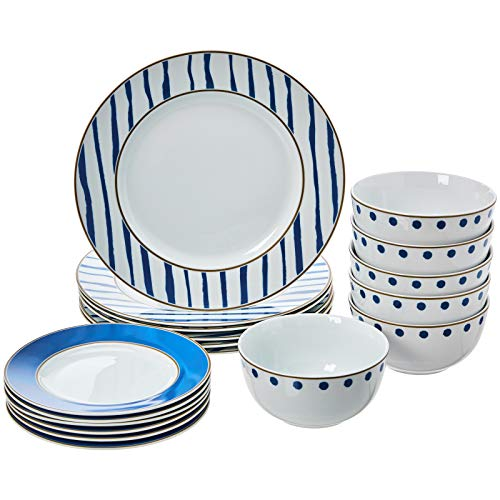 AmazonBasics 18-Piece Kitchen Dinnerware Set, Plates, Dishes, Bowls, Service for 6, Blue Accent