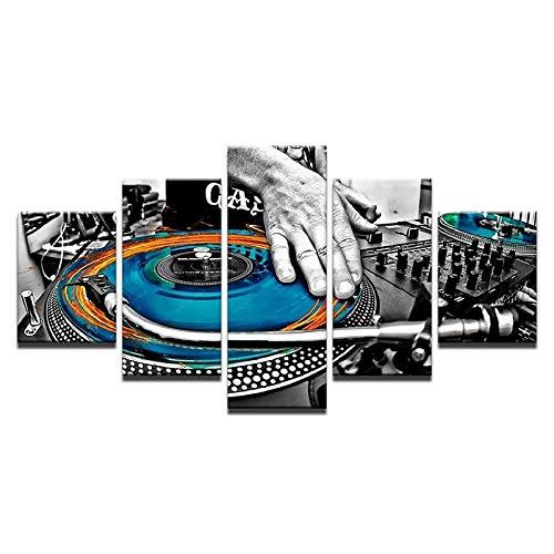 XXXCH Cuadro Moderno En Lienzo 5 Piezas - Tablero De Mano Dj Música Consola Instrumento Musical Discoteca Cuadro De Pintura Póster De Arte Moderno Oficina Sala De Estar O Dormitorio Decoraci 150X100CM