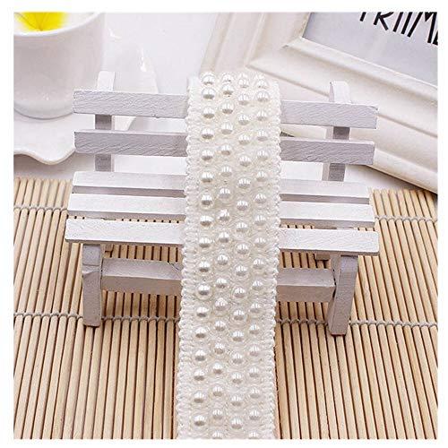 KAERMA Weiß Schwarz Imitation Perlen-Band wulstiger Spitze Strass Kleid-Rock-Taschen-Hut Socken Applikationen über 0.9m 1PC Wohnaccessoires (Color : White)