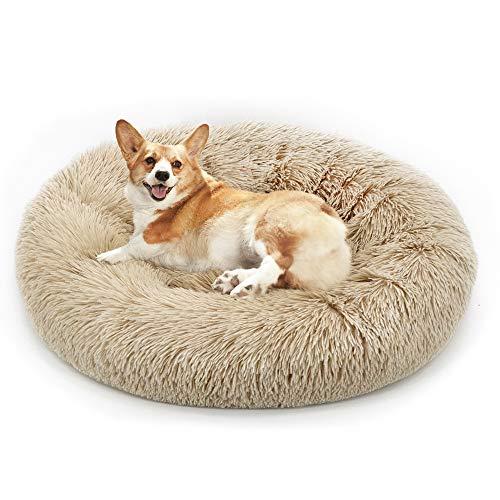 Lrhps Deluxe-Haustierbett,Hundebett mit kuscheligem Plüsch,Donut Cuddler Haustierbett,Mittelgroße und Große Hunde atmungsaktiv-Fangqiyi-Braun,80 * 80cm
