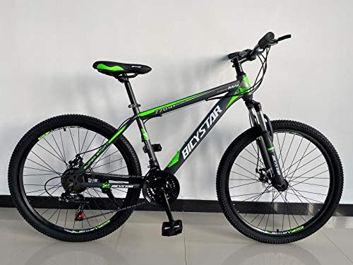 Bicystar 26' Wheel Unisex Mountain Bike in Green Color for Adults, Steel Frame, 21 Speed, Front and Rear Disc Brakes