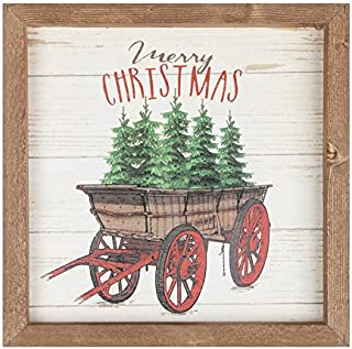 P. Graham Dunn Merry Tree Wagon Natural Brown 11 x 11 Holiday Farmhouse Framed Wall Plaque