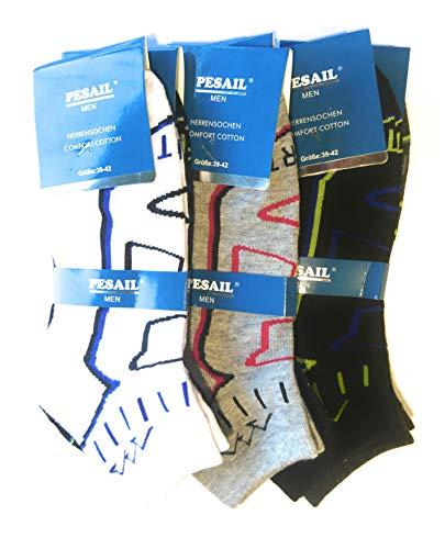 Pesail Sneaker Socken 4-6 - 8-10 oder 12 Paar Größe 39-42 90prozent Baumwolle Sportsocken (12)