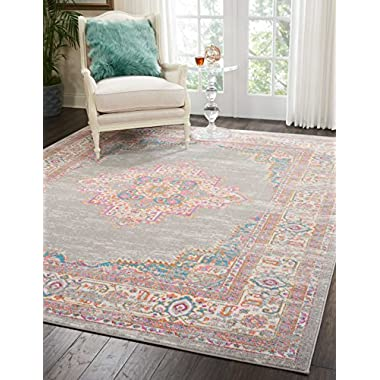 Nourison PSN03 Passion Distressed Vintage Grey Area Rug 8' x 10'