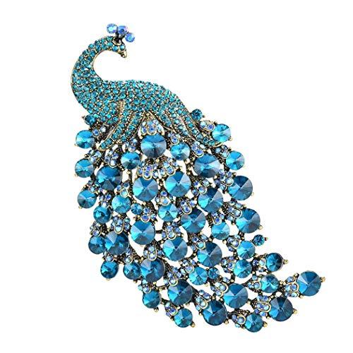 Premewish Brosche, Mehrere Farbe Pfau Brosche für Damen, Brautkleid Schal Hut Zubehör