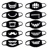 Anime Cartoon mundschutz Baumwolle Anti-Staub Mode Kawaii süße mundschutz Wiederverwendbare schwarz Lustig Mundschutz mit Motiv Mund und Nasenschutz Halstuch Bandana Schals Schlauchtuch (K)