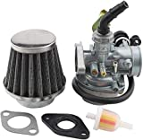 WOOSTAR PZ19 Carburetor with 35mm Air Filter Cable Choke Replacement for 50cc 70cc 90cc 110cc 125cc Chinese ATV Scooter Go Kart