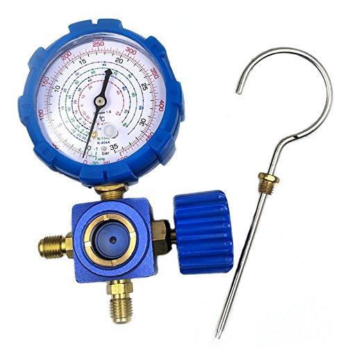 Nikauto Calibrador de presión de Alta Baja R134 R410A R22 R404A Calibre sin Manguera (Azul)