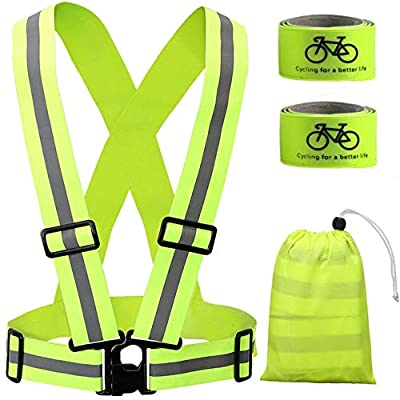 Reflective Vest(L&G) Reflective Running Vest with Hi Vis Bands, Adjustable & Multi-Purpose Safety Reflective for Day&Night Running, Cycling, Motorcycle, Riding,Walking, Jogging and Hiking (Green2)