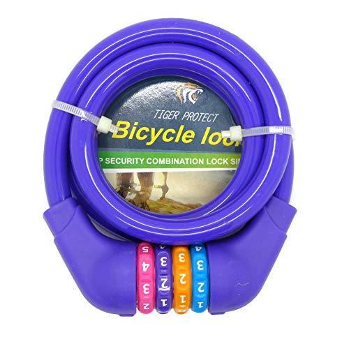 Starlet24 - Lucchetto a Combinazione per Bicicletta, a Spirale, 1,2 x 120 cm, Violett