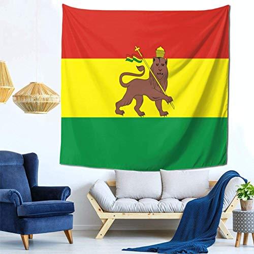 Lsjuee Etiopia Leone Corona Distintivo Bandiera Arazzo Appeso a parete Decorazioni per la casa Fan Art per Camera da letto Soggiorno Dormitorio