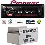 Autoradio Radio Pioneer MVH-S110UI - | MP3 | USB | Android | iPhone Einbauzubehör - Einbauset für BMW 3er E36 - JUST SOUND best choice for caraudio
