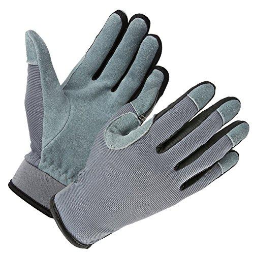 OZERO Garten Handschuhe, Touchscreen Leder Arbeitshandschuhe,1 Paar