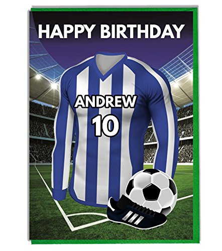Personalised Football Themed Birthday Card for - Dad - Husband - Son - Daughter - Mum - Sheffield Wednesday Colours