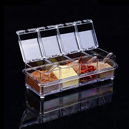 FSSQYLLX Caja de Especias Organizador de Cocina Cajas de Almacenamiento Tarro Botella de Sal de azúcar Transparente Accesorios