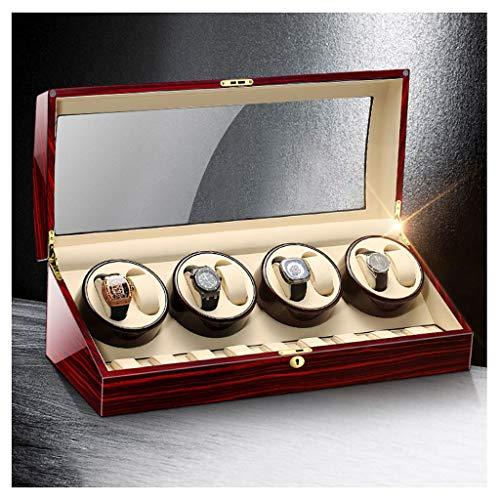 CHYOOO Caja de almacenamiento de reloj de madera de lujo automática con cinco modos de temporizador, cerradura de seguridad y llave de acrílico transparente para la puerta de reloj (color: H (8+9))