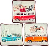 matrasa Weihnachtliches Kissen Truck & Bulli - Weihnachtsdeko Zierkissen Sofakissen Couch 45x45cm...