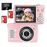 Appareil Photo Numérique 2,7 Pouces 1080P 30 Mégapixels HD Appareil Photo Numerique Rechargeable Caméra Appareil Photo Compact avec Zoom 8X poavec Carte SD de 32 Go et 2 Piles (Rose)
