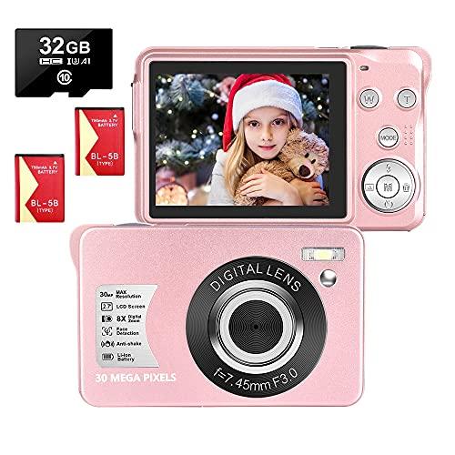 Cámara Digital Camara de Fotos 2.7 Pulgadas 1080P 30 megapíxeles HD Camara Fotos Recargable Cámara para de Bolsillo Cámaras Digitales Camara Compacta con Tarjeta SD de 32GB y 2 baterías (Rosa)