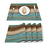 Vandarllin Placemats Set of 6, Retro Rustic Wood Texture Polyester Stain Resistant Table Mats Washable Placemat Decoration for Kitchen Dining Table Teal Green Brown