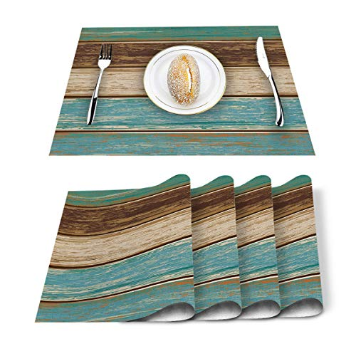 Placemats Set of 6, Retro Rustic Wood Texture Polyester Stain Resistant Table Mats Washable Placemat Decoration for Kitchen Dining Table Teal Green Brown