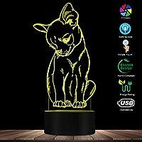 スマートフォンコントロール、かわいい小さな犬チワワの品種の肖像画3D目の錯覚常夜灯色を変える動物ペット子犬の寝室のテーブルランプ