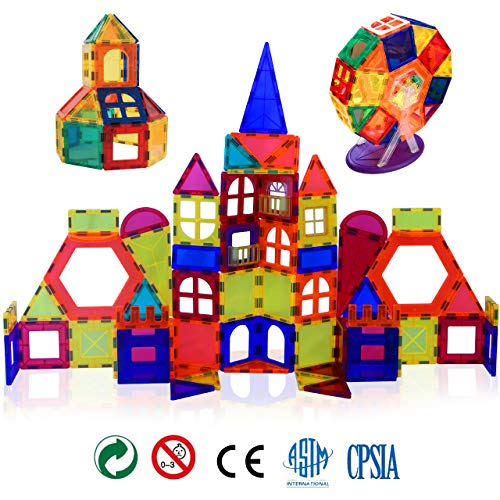 Gifts2U Magnetic Building Tiles, 96pcs Construction Blocks Set for Kids with Guide Booklet and Storage Box, Magnet Stacking Kit, Creative Educational STEM Toys