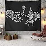 Wandteppich Weiß & Schwarz Blumenhände, Psychedelic Trippy Hippie Boho Neuheit Wandteppich Wandbehang, Art Decor Print Stoff für Schlafzimmer Wohnzimmer College Dorm,60×52 inch (150×130 cm)