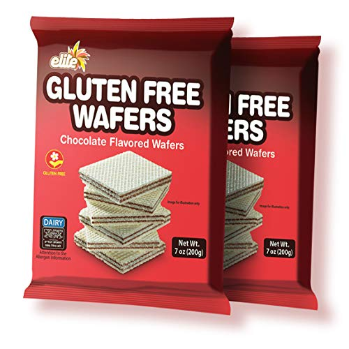 Elite Gluten Free Chocolate Flavored Wafers, Dairy (2 Pack) Crisp and Delicious! Kosher for Passover (Kitniot)