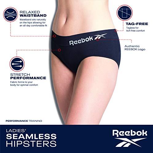 Reebok Womens Seamless Hipster Panties 5-Pack, Size Medium, Grey Light/Rose/Hot Pink/Black/Blue