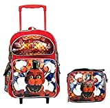 """Five Nights at Freddys 16"""" Standard Size Large Rolling Backpack Plus Lunch Bag Set"""