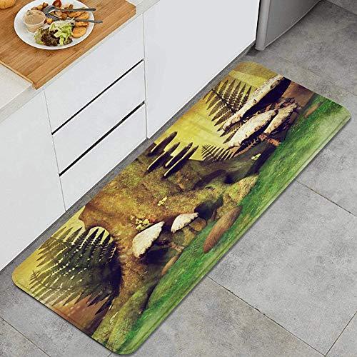 VAMIX Tappeto da Cucina,Autunno colorato prato ceppo di albero foglie di felce natura favola fantasia foresta erba,antiscivolo passatoia da cucina antiscivolo zerbino tappetino per il bagno