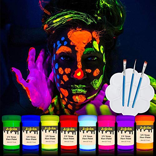 Jojoin Vernice Fluorescente Colorato, Neon Kit per Pelle Viso Corpo, 20ml 8 bottiglie UV Colori Diversi, 3 Pennello & 1 Tavolozza - Neon Glow Fluo per Halloween, Carnevale, Festa Kits
