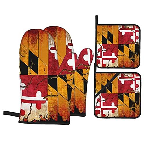 WXM Juego de 4 manoplas y soportes para ollas, guantes de horno resistentes a la bandera de Maryland y almohadillas calientes, juegos de cocina para barbacoa, cocina, hornear
