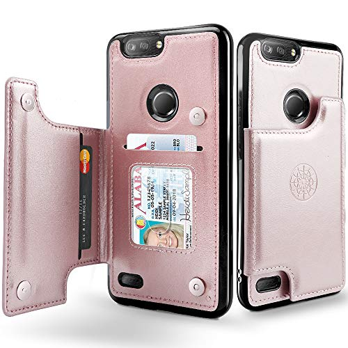 Shields Up ZTE Blade Z Max Case, ZTE Blade Zmax Pro 2 Case, ZTE Sequoia Wallet Case with Card Holder,Vegan Leather Cases,Magnetic Clasp Protective Flip Cover for ZTE Z982 -Rose Gold