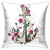 Throw Pillow Case Cushion Cover,Hand Drawn Illustration of Sea Anchor Entwined with Flowers and Marine Rope ,18x18 Inches