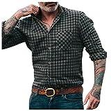 ERNUMK Camisa de hombre para el tiempo libre, camisa a cuadros, corte ajustado, cuello vuelto, otoño, invierno, manga larga, ligera, Oktoberfest, Negro , XXL
